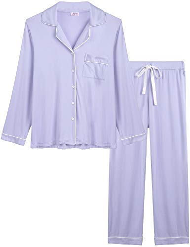Joyaria Ladies Soft Pajama Sets Button Up Jersey Knit Lounge Pj Pants Set Winter Sleepwear (Light Purple, Large)