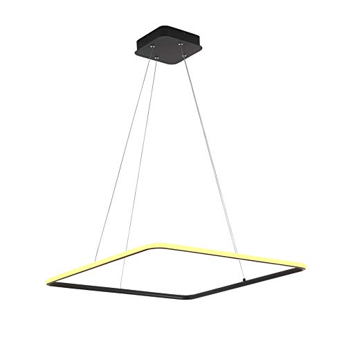 Royal Pearl Foyer Chandelier Contemporary Adjustable Square Hanging Pendant Light Fixture for Kitchen Island Living Dining Room Bedroom Hallway Black Warm ()