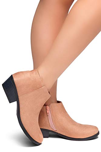 a3d256f4e86 Herstyle Chatter Women s Western Ankle Bootie Closed Toe Casual Low Stacked  Heel Boots