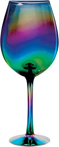 Circleware 76874 Rainbow Fusion Wine Glasses, Set of 4, Party Entertainment Dining Beverage Drinking Glassware Cups for Water, Liquor, Whiskey, Beer, Juice and Farmhouse Decor Gifts, 15.7 oz, Luster ()