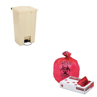 KITJAGIW3339RRCP614600BG - Value Kit - Jaguar Plastics IW3339R Red Healthcare, Infectious Waste and Infectious Can Liners, 33 Gallons (JAGIW3339R) and Rubbermaid Fire-Safe Step-On Receptacle w/Wheels (RCP614600BG)