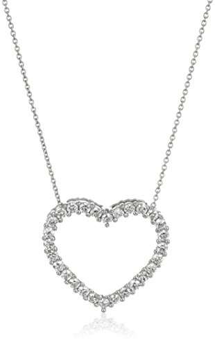 Sterling Silver and Cubic Zirconia Open-Heart Pendant Necklace, - Open Cubic Zirconia Heart Pendant