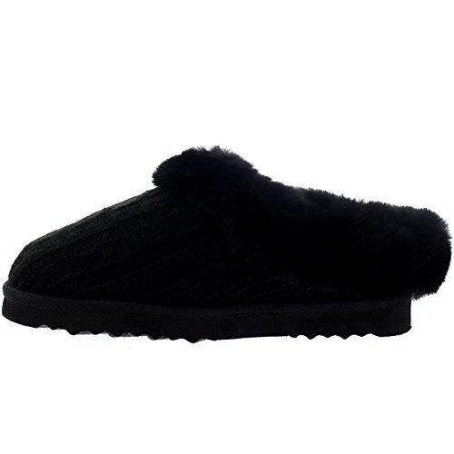 Womens Real Knitted Slippers Black jRTCKjP6