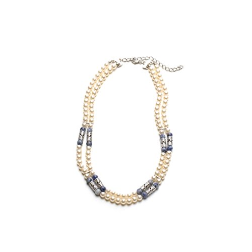 - LookLove Womens Necklace Genuine Blue Lapis and Glass Pearls 17