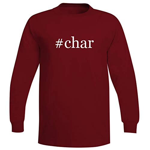 #Char - A Soft & Comfortable Hashtag Men's Long Sleeve T-Shirt, Red, X-Large
