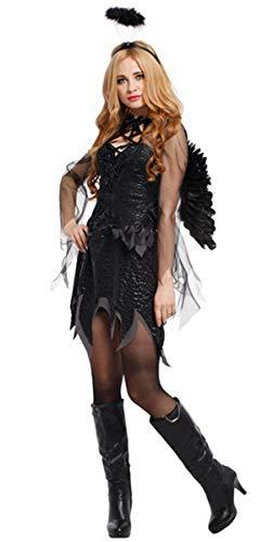 Fallen Angel Costume Women Black Dress Halloween Costume with Angel Wing &Halo -