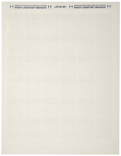 Brady LAT-35-361-2.5 1.2'' Width x 1.5'' Height, B-361B Self-Laminating Polyester, Matte Finish White/Translucent Laser Printable Label (Pack of 2500) by Brady