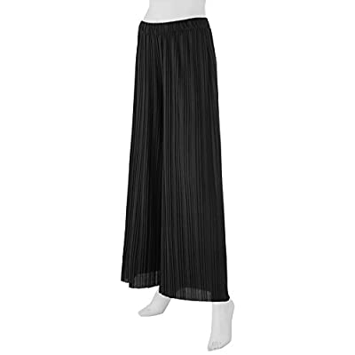 Lock and Love Women's Ankle/Maxi Pleated Wide Leg Palazzo Pants with Drawstring/Elastic Band at Women's Clothing store