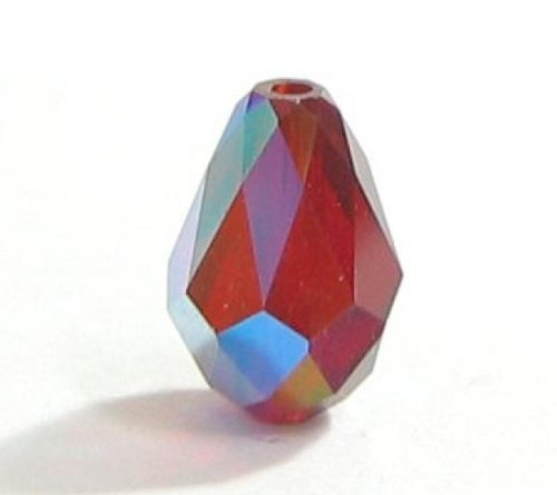 6 pcs Swarovski Crystal 5500 Teardrop Briolette Bead Siam AB 9x6mm / Findings / Crystallized Element