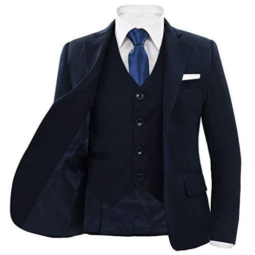 vidaXL Childrens 3 Piece Dinner Suit Size Navy Jacket Waistcoat Pants