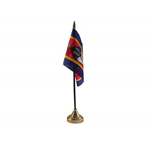 Pack Of 6 Swaziland Swazi Desktop Table Centrepiece Flag Flags With Gold Bases Ideal For Party Conferences Office Display