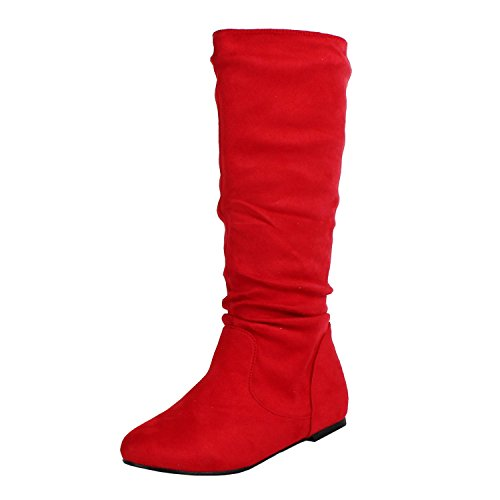 West Blvd Saigon Slouch Slouch Boots, Red Suede, 11 (Red Women Boots)