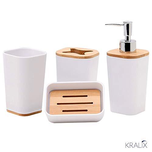 Kralix 4-Piece Bathroom Set, Accessories Includes Decorative Countertop Soap Dispenser, Dish, Tumbler, Toothbrush Holder