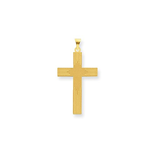 14k Yellow Gold Laser Designed Cross Necklace Pendant Charm Religious Latin Fine Jewelry Gifts For Women For Her ()