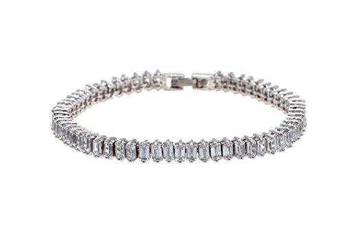 Lavencious Luxury Clear Baguette-Cut Trendy Design AAA CZ Bracelet Tennis Bridal Wedding Party Jewelry for - Baguette Bracelet Tennis