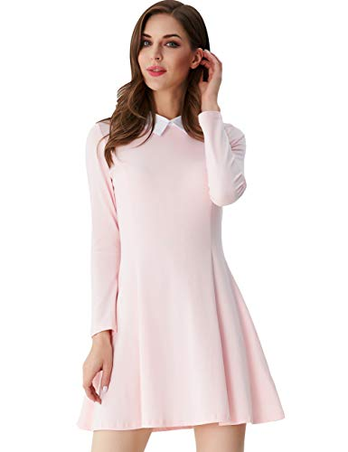 Aphratti Women's Long Sleeve Casual Peter Pan Collar Flare Dress Pink XX-Large]()