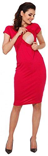 Zeta Ville - Premamá Vestido de lactancia efecto 2 en 1 capa - para mujer - 971c Frambuesa