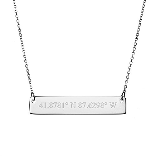 Sterling Silver Custom Coordinates Bar Necklace