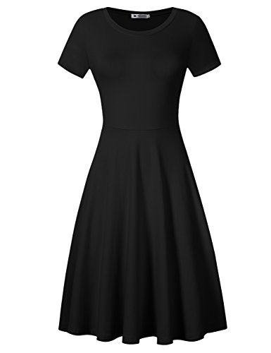 VeryAnn Women Round Neck Short Sleeve Summer Casual Flared Dress Knee Length Black S -
