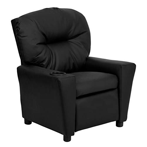 Flash Furniture Contemporary Black Leather Kids Recliner with Cup Holder,