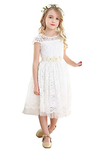 Bow Dream Flower Girl's Dress Vintage Cute Round Neck Lace Ivory 6 ()