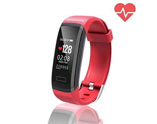 TEMEXE Fitness Tracker with Color Display Activity Watch Smart Band with Heart Rate Sleep Monitor IP67 Waterproof Call Message SNS Reminder Wearable Pedometer Wristband for Android iOS Red
