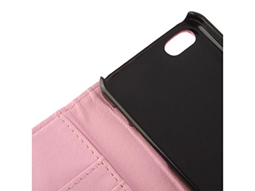 Apple iPhone Case 5c Wallet, Fone-STUFF® - PU cuir, Flip Horizontal, Porte-cartes Housse de protection en rose (Comprend protecteur d'écran)