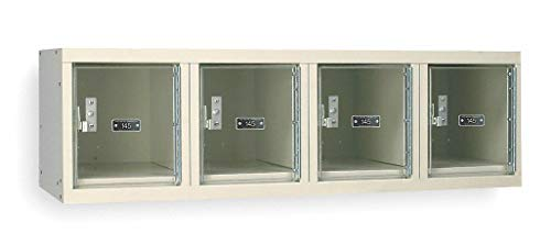 "Tan Wall Mount Box Locker, (4) Wide, (1) Tier, Openings: 4, 48"" W X 18"" D X 14-3/4"" H"