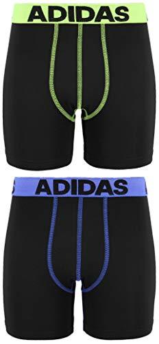 adidas Youth Kids-Boys Boys Sport Performance Climalite Midway Underwear (2-Pack), Black/Solar Yelow Black/Hi Res Blue, X-LARGE