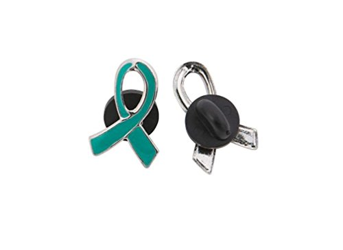 1 Teal Awareness Ribbon Pins Ovarian cancer, cervical cancer, uterine cancer, Anxiety disorders (1)