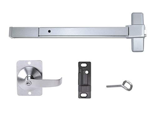 (Push Bar Panic Exit Device, Aluminum, with Exterior Lever)