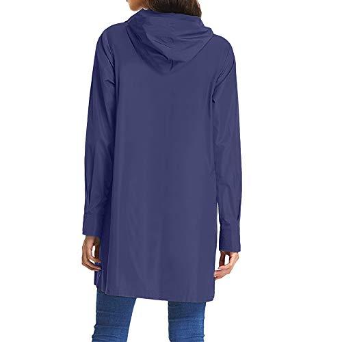 Cappuccio Manica Autunno Con Lunga Donna Bottone Cappotto Aperto Blu Elecenty Cardigan BnW8qRwI