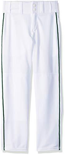 - Alleson Ahtletic Boys Youth Baseball Pants with Braid, White/Dark Green, Medium