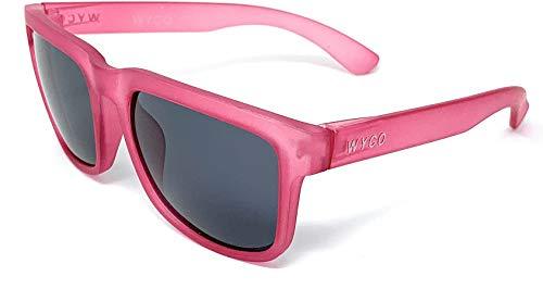 Polarized Sunglasses with UV400 Protection for Men and Women by WYCO Style - Colorful Frosted Frame Sunglasses (Dark Pink, Black) ()
