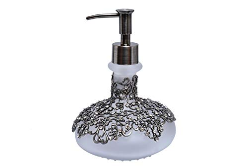 Decozen 12.5 Oz Frosted Solid Glass Liquid Soap Dispenser with Zinc Alloy Rust Proof Pump use for Lotions Essential Oils in Kitchen and Bathroom 4.96 x 4.96 x 6.89 inches
