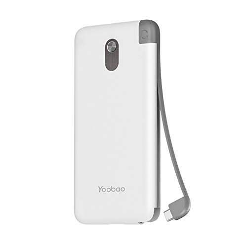 Portable Charger 10000mAh Yoobao Built-in USB-C Cable Power Bank External Battery Pack Slim Portable Phone Charger Compatible with Google Pixel 3XL/2XL OnePlus & More USB-C Devices