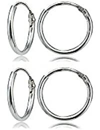 Set of 2 Sterling Silver Small Endless 10mm Lightweight Thin Round Unisex Hoop Earrings
