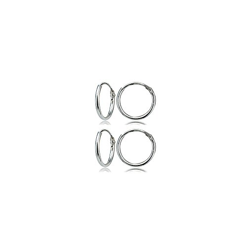 Set of 2 Sterling Silver Small Endless 10mm Lightweight Thin Round Unisex Hoop Earrings (Small Button Earrings)