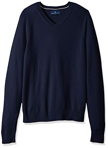 BUTTONED DOWN Men's 100% Premium Cashmere V-Neck Sweater, Midnight Navy, X-Large