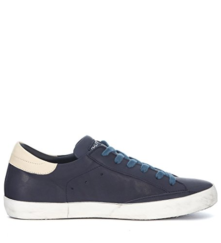 Philippe Model Mens Paris Blue and Ivory Leather Sneaker Blue kblBiuO