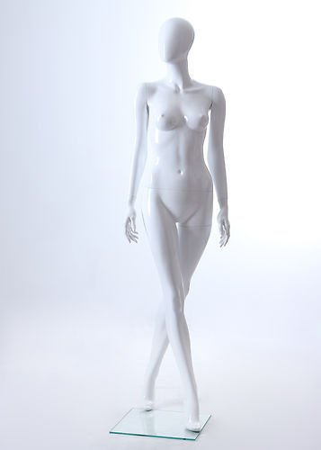 Fiberglass Mannequin (Female Full Body Fiberglass Abstract Egg Head Mannequin Glossy White (LLF4))