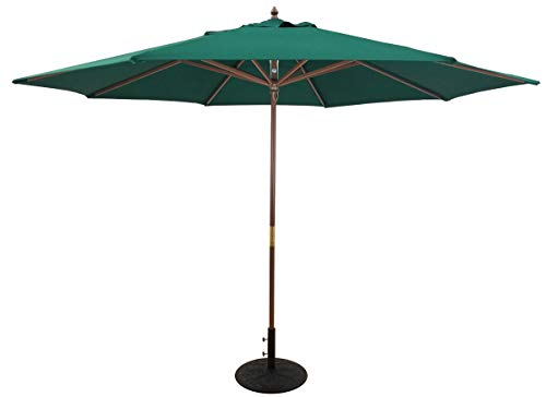 TropiShade 11-Feet Light Wood Polyester Market Umbrella with Green Polyester Cover