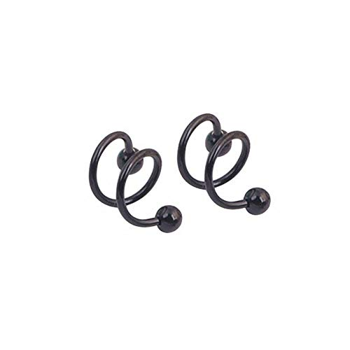 Double Helix Candle - Pair Punk 316L Surgical Steel Spiral Helix Ear Stud Nose Ring Piercing Jewellry   Colors - Black