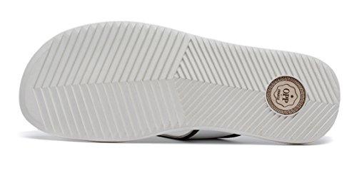 Opp Mens Classic Mode Casual Anti-av Slirning Vippor Tofflor I Äkta Läder För Sommaren 2017 2990-white