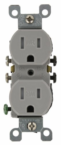 Leviton W5320-T0G 15 Amp, 125 Volt, Weather and Tamper Resistant, Duplex Receptacle, Grounding, Side and Quickwire, - Plug Gray