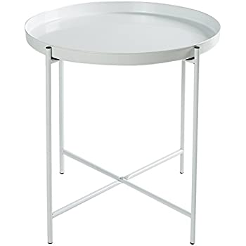 HollyHOME Metal Folding Tray End Table, Slide Under Sofa Side Table, Round  Sofa Console