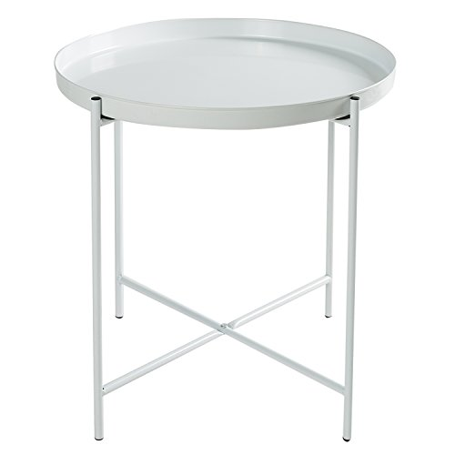 HollyHOME Metal Folding Tray End Table, slide under Sofa Side Table, Round Sofa Console Table with Storage, Coffee Table,White (Round Garden Small Folding Table)
