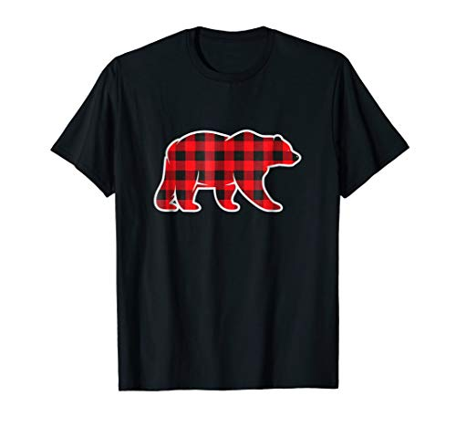 Red Buffalo Plaid Bear Matching Pajama Shirt Gingham Check ()