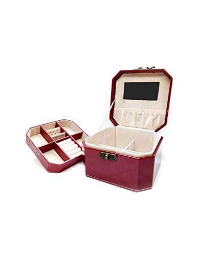 (WSQJPER888 Ladies Vintage Double Leather Jewelry Box Display Storage Box Girl Princess Earrings Ring Cuff Necklace Storage Box (Black, Red, Orange) (Color : Wine red))