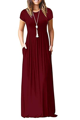 (TODOLOR Women's Short Sleeve Casual Loose Pockets Maxi Party Long Dresses (S, Wine Red))